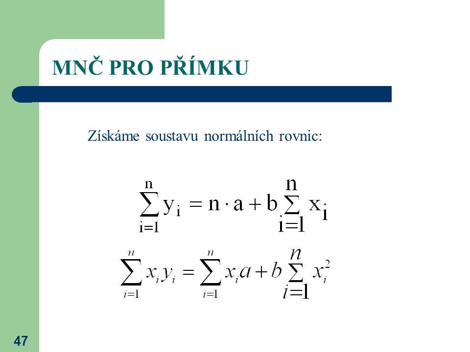 47 MNČ PRO PŘÍMKU Získáme soustavu normálních rovnic:
