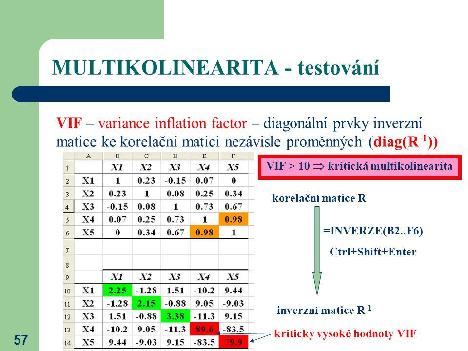 57 MULTIKOLINEARITA - testování VIF – variance inflation factor – diagonální prvky inverzní matice ke korelační matici nezávisle proměnných (diag(R -1