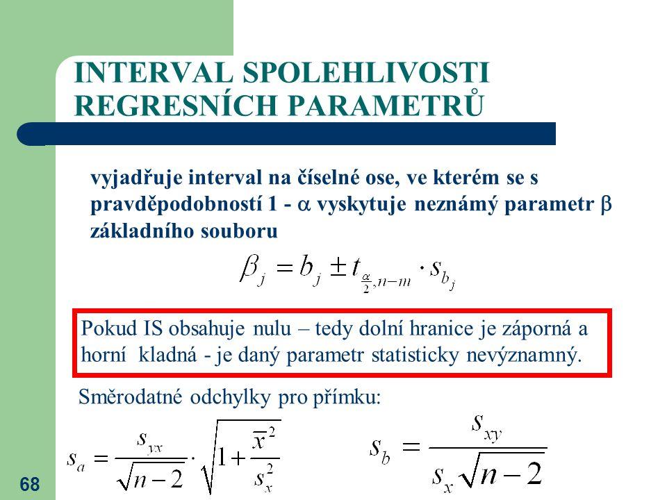 68 INTERVAL SPOLEHLIVOSTI REGRESNÍCH PARAMETRŮ vyjadřuje interval na číselné ose, ve kterém se s pravděpodobností 1 -  vyskytuje neznámý parametr  z