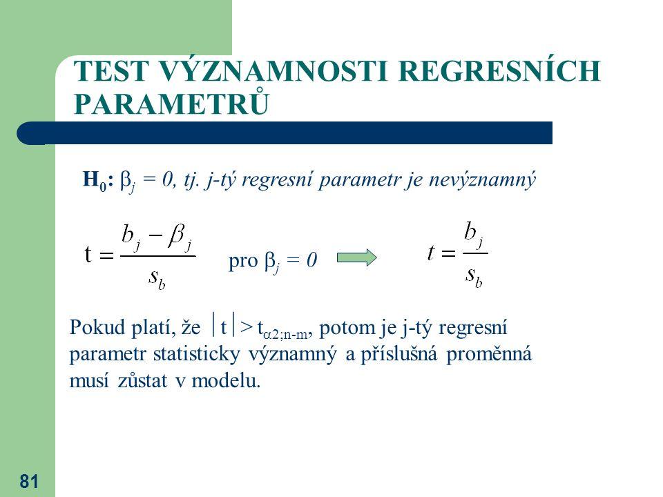 81 TEST VÝZNAMNOSTI REGRESNÍCH PARAMETRŮ H 0 :  j = 0, tj. j-tý regresní parametr je nevýznamný pro  j = 0 Pokud platí, že  t  > t  2;n-m, potom