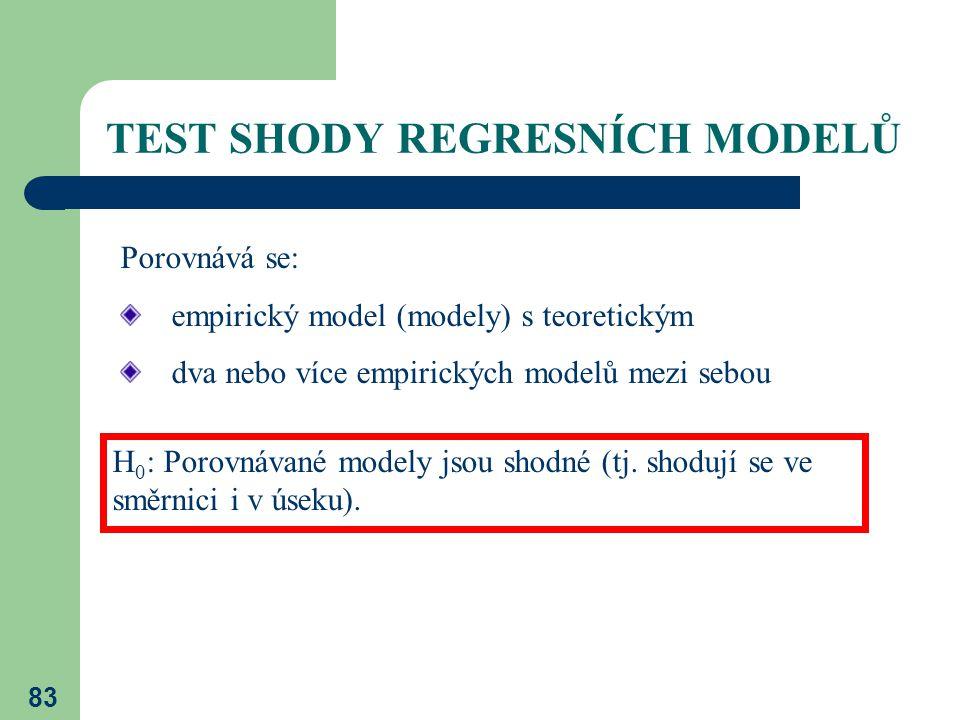 83 TEST SHODY REGRESNÍCH MODELŮ Porovnává se: empirický model (modely) s teoretickým dva nebo více empirických modelů mezi sebou H 0 : Porovnávané mod
