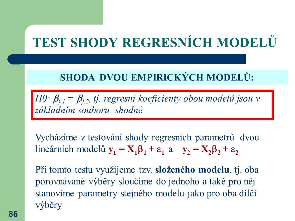 86 TEST SHODY REGRESNÍCH MODELŮ SHODA DVOU EMPIRICKÝCH MODELŮ: H0:  j,1 =  j,2, tj. regresní koeficienty obou modelů jsou v základním souboru shodné