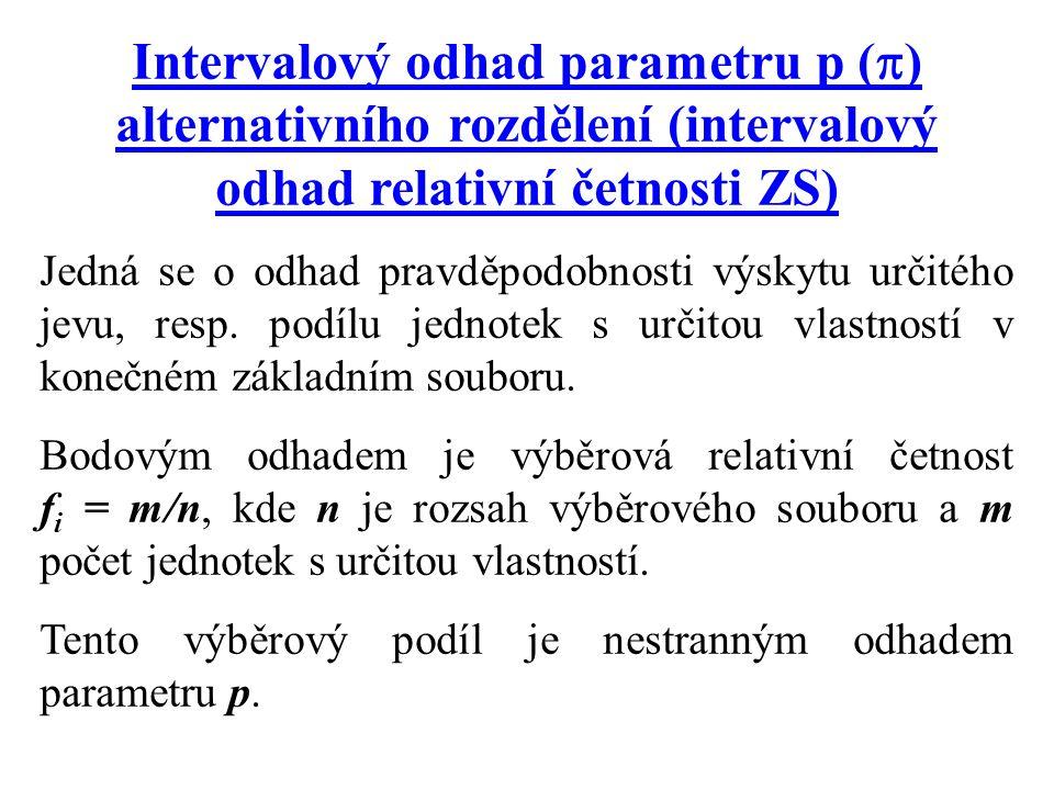 Intervalový odhad parametru p (  ) alternativního rozdělení (intervalový odhad relativní četnosti ZS) Jedná se o odhad pravděpodobnosti výskytu určit