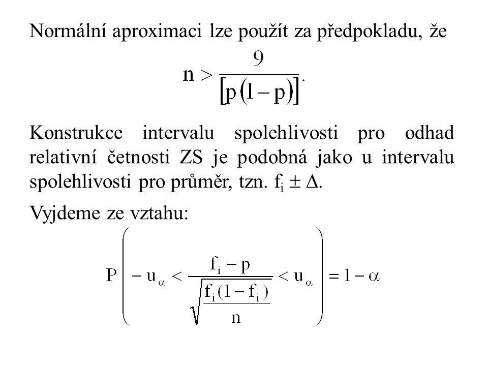 Normální aproximaci lze použít za předpokladu, že Konstrukce intervalu spolehlivosti pro odhad relativní četnosti ZS je podobná jako u intervalu spolehlivosti pro průměr, tzn.