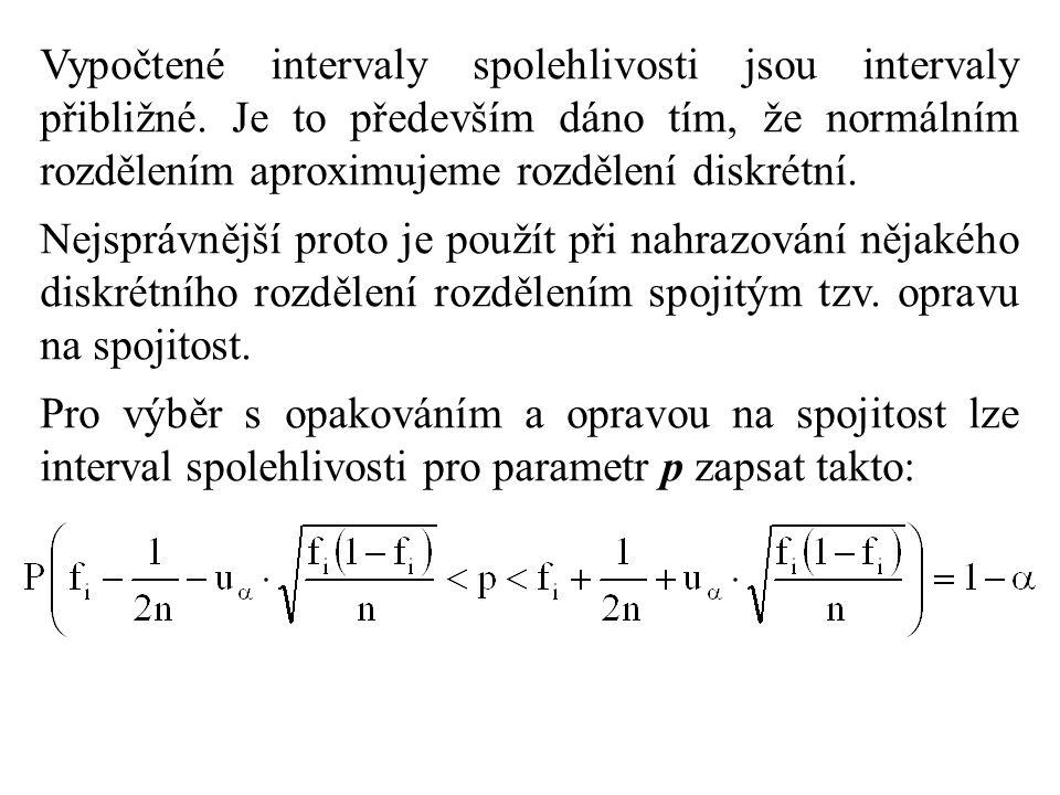 Vypočtené intervaly spolehlivosti jsou intervaly přibližné. Je to především dáno tím, že normálním rozdělením aproximujeme rozdělení diskrétní. Nejspr