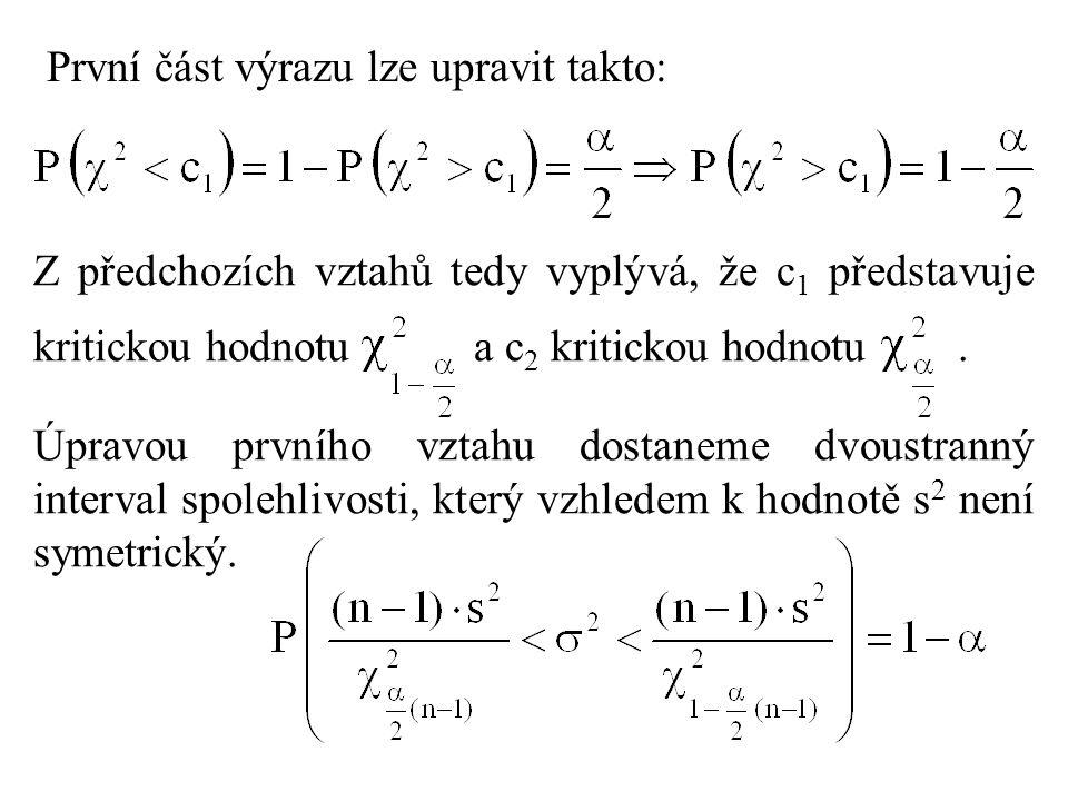 První část výrazu lze upravit takto: Z předchozích vztahů tedy vyplývá, že c 1 představuje kritickou hodnotu a c 2 kritickou hodnotu. Úpravou prvního