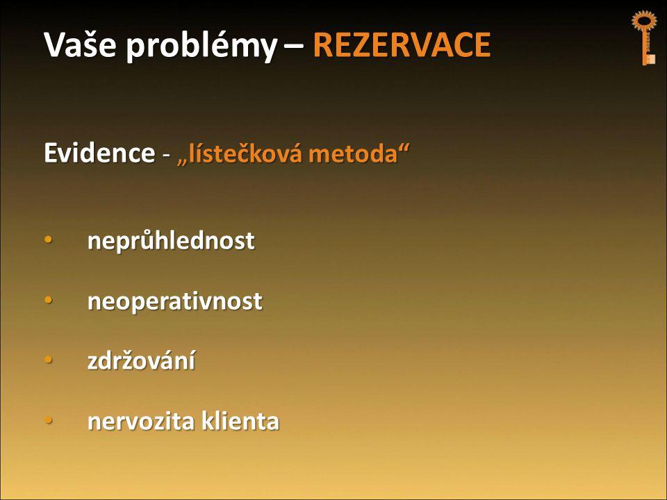 """Vaše problémy – REZERVACE Evidence - """"lístečková metoda"""" • neprůhlednost • neoperativnost • zdržování • nervozita klienta"""