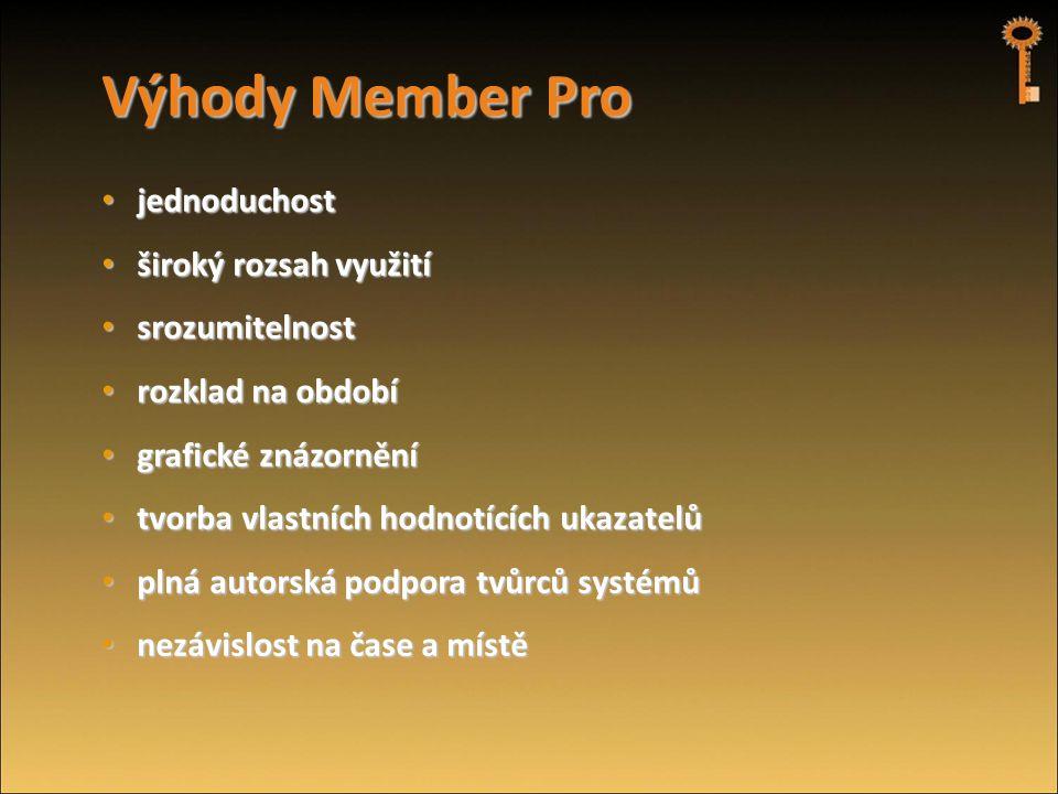 Výhody Member Pro • jednoduchost • široký rozsah využití • srozumitelnost • rozklad na období • grafické znázornění • tvorba vlastních hodnotících uka