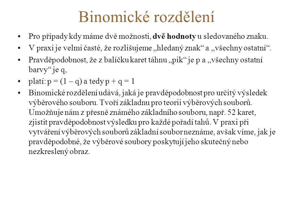 Binomické rozdělení •Pro případy kdy máme dvě možnosti, dvě hodnoty u sledovaného znaku.