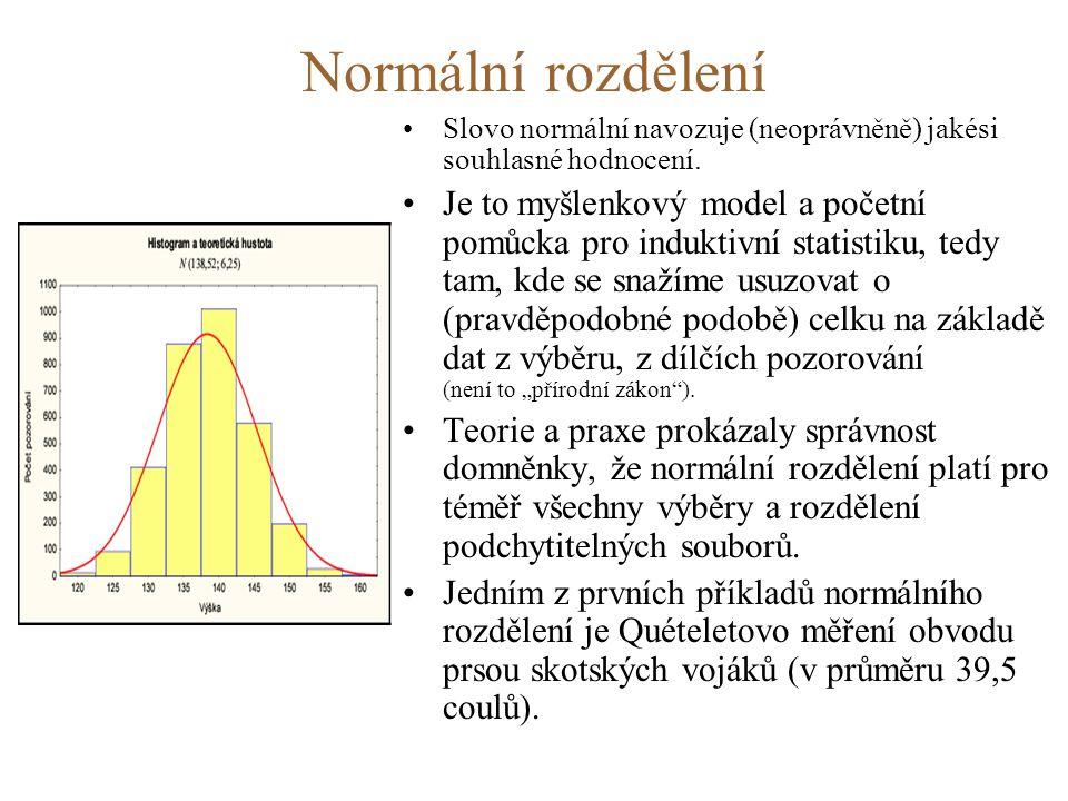 Normální rozdělení •Slovo normální navozuje (neoprávněně) jakési souhlasné hodnocení.