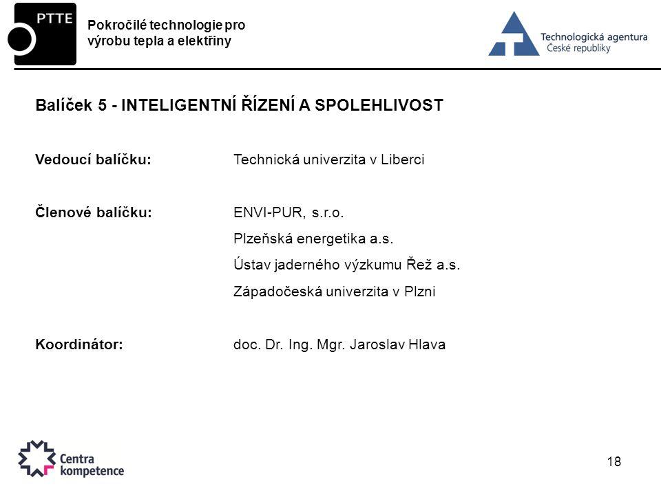 18 Balíček 5 - INTELIGENTNÍ ŘÍZENÍ A SPOLEHLIVOST Vedoucí balíčku:Technická univerzita v Liberci Členové balíčku:ENVI-PUR, s.r.o.