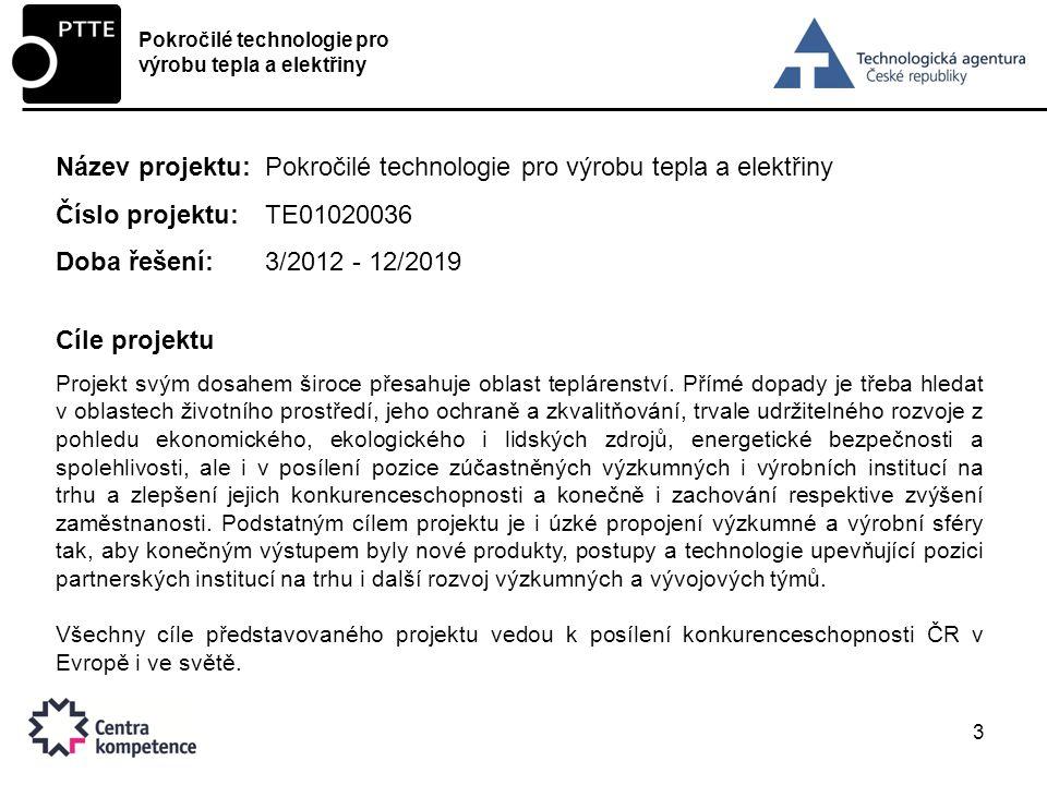 3 Název projektu:Pokročilé technologie pro výrobu tepla a elektřiny Číslo projektu:TE01020036 Doba řešení:3/2012 - 12/2019 Cíle projektu Projekt svým dosahem široce přesahuje oblast teplárenství.