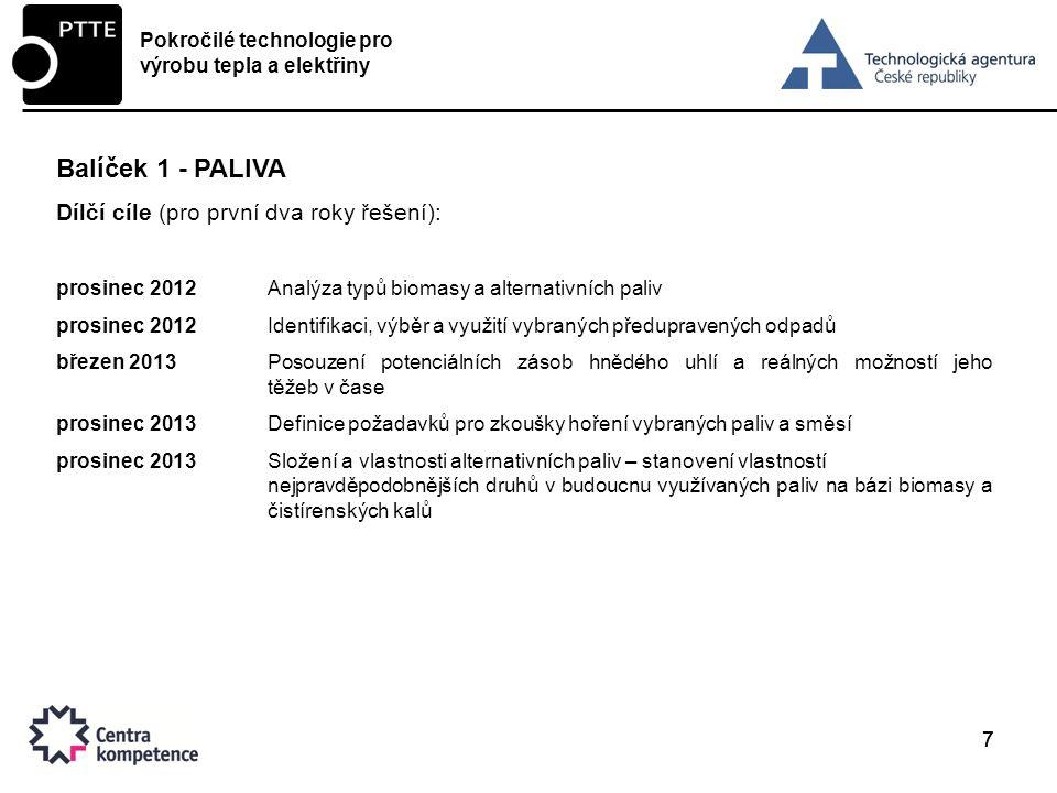777 Balíček 1 - PALIVA Dílčí cíle (pro první dva roky řešení): prosinec 2012Analýza typů biomasy a alternativních paliv prosinec 2012Identifikaci, výběr a využití vybraných předupravených odpadů březen 2013Posouzení potenciálních zásob hnědého uhlí a reálných možností jeho těžeb v čase prosinec 2013Definice požadavků pro zkoušky hoření vybraných paliv a směsí prosinec 2013Složení a vlastnosti alternativních paliv – stanovení vlastností nejpravděpodobnějších druhů v budoucnu využívaných paliv na bázi biomasy a čistírenských kalů Pokročilé technologie pro výrobu tepla a elektřiny