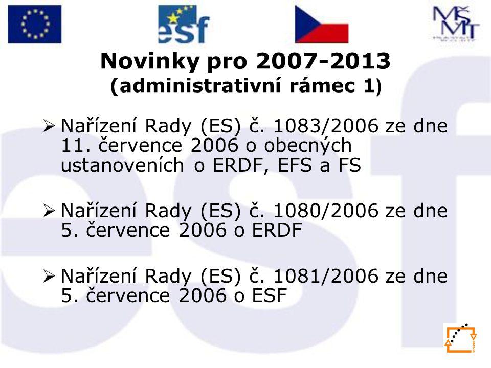 Novinky pro 2007-2013 (administrativní rámec 2 )  Spolufinancování z národních zdrojů v průměru 15 %  Křížové financování ESF/ERDF –Nákup vybavení (počítače, kancelářská technika) nad 40 000,- Kč, nábytku, automobilů nejsou způsobilými výdaji z ESF - toto lze pouze v rámci křížového financování (ERDF) – nebo formou odpisů  Zvýšení podpory de-minimis na 200 000 EUR