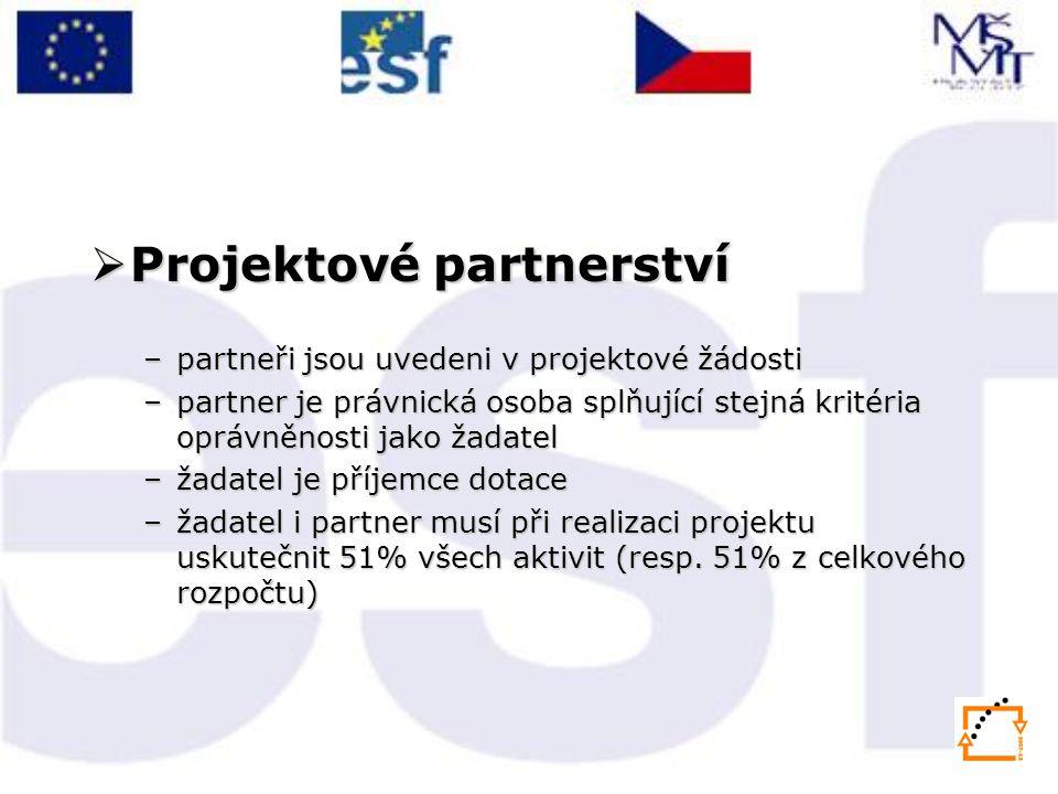  Projektové partnerství –partneři jsou uvedeni v projektové žádosti –partner je právnická osoba splňující stejná kritéria oprávněnosti jako žadatel –žadatel je příjemce dotace –žadatel i partner musí při realizaci projektu uskutečnit 51% všech aktivit (resp.