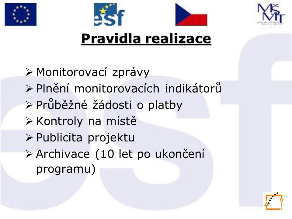 Pravidla realizace  Monitorovací zprávy  Plnění monitorovacích indikátorů  Průběžné žádosti o platby  Kontroly na místě  Publicita projektu  Archivace (10 let po ukončení programu)