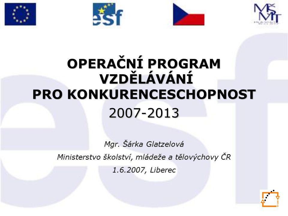 OPERAČNÍ PROGRAM VZDĚLÁVÁNÍ PRO KONKURENCESCHOPNOST 2007-2013 Mgr.