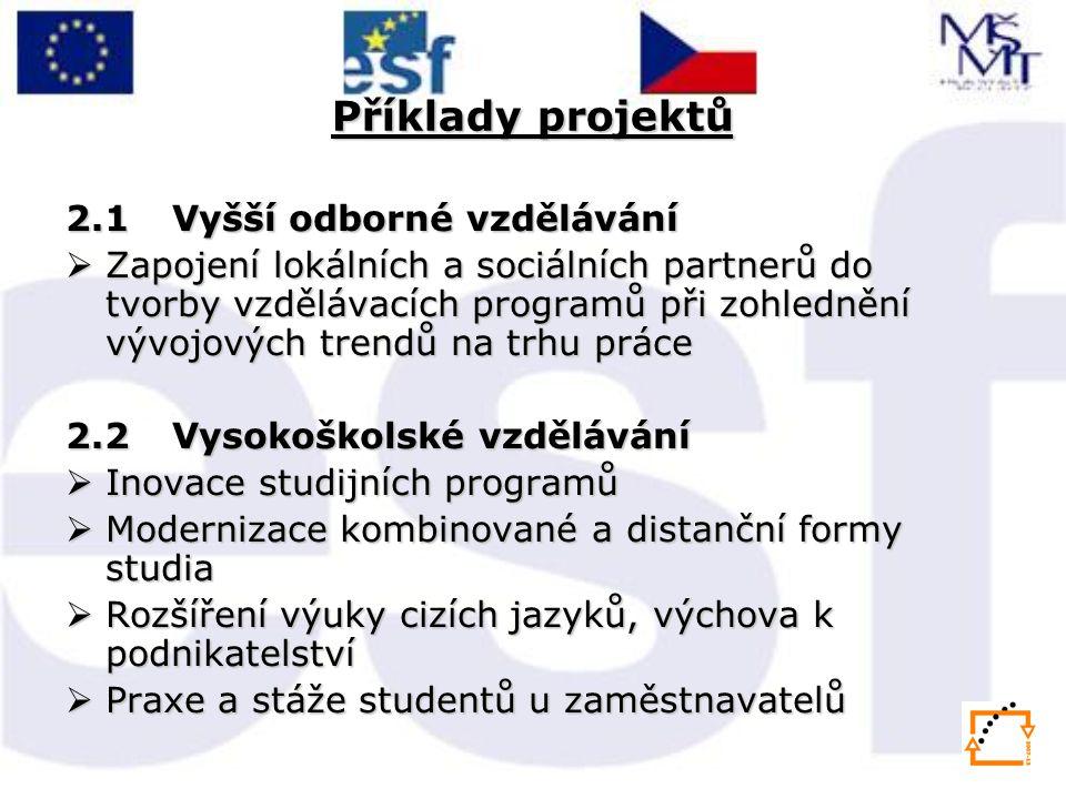 Příklady projektů 2.1 Vyšší odborné vzdělávání  Zapojení lokálních a sociálních partnerů do tvorby vzdělávacích programů při zohlednění vývojových tr