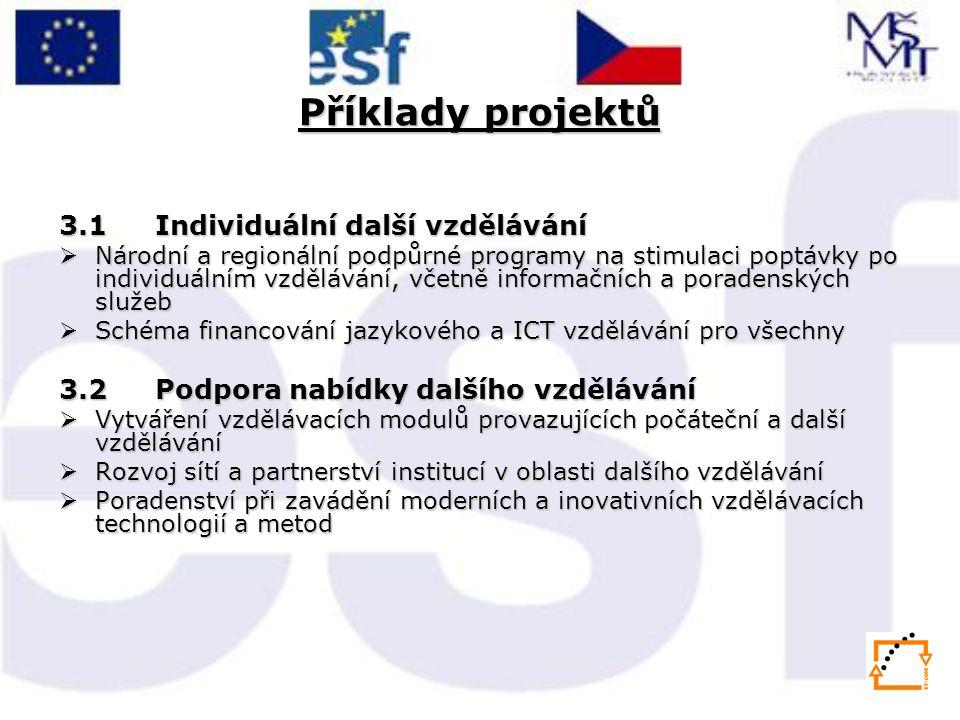 Příklady projektů 3.1 Individuální další vzdělávání  Národní a regionální podpůrné programy na stimulaci poptávky po individuálním vzdělávání, včetně