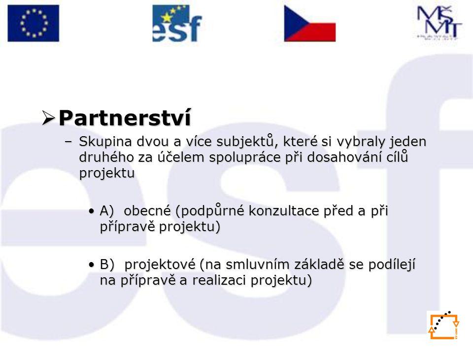  Partnerství –Skupina dvou a více subjektů, které si vybraly jeden druhého za účelem spolupráce při dosahování cílů projektu •A) obecné (podpůrné konzultace před a při přípravě projektu) •B) projektové (na smluvním základě se podílejí na přípravě a realizaci projektu)