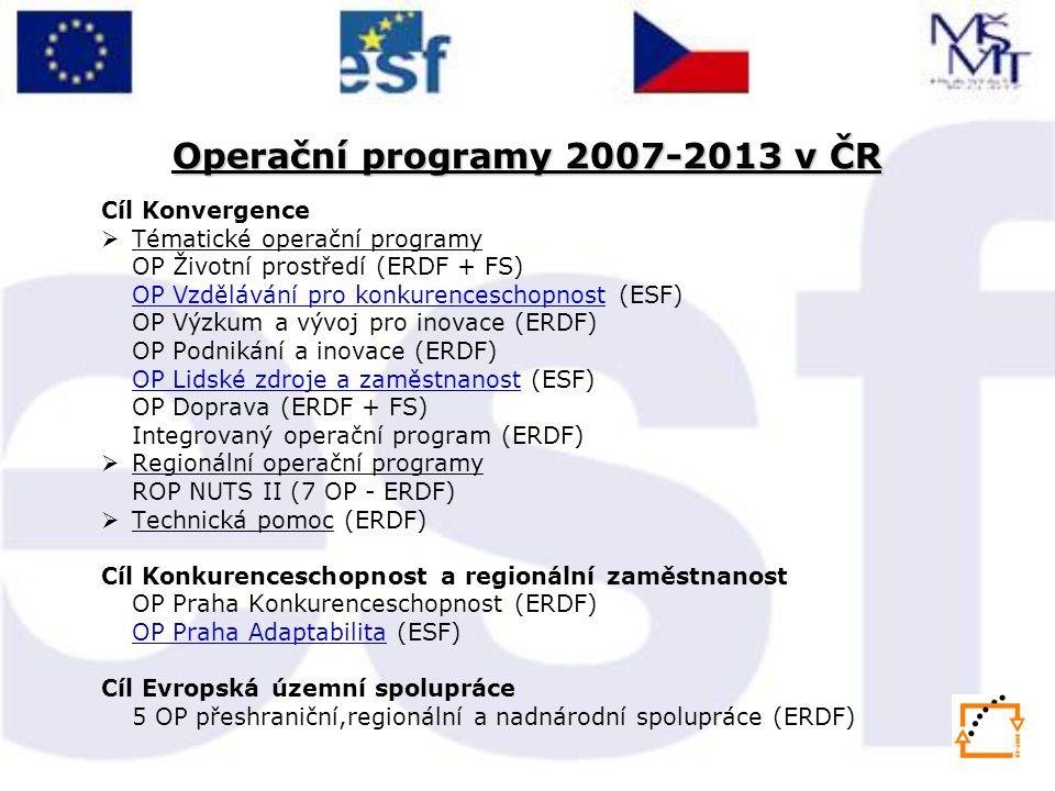 Cíl Konvergence  Tématické operační programy OP Životní prostředí (ERDF + FS) OP Vzdělávání pro konkurenceschopnostOP Vzdělávání pro konkurenceschopn