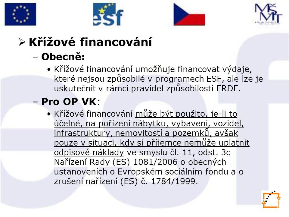  Křížové financování –Obecně: •Křížové financování umožňuje financovat výdaje, které nejsou způsobilé v programech ESF, ale lze je uskutečnit v rámci