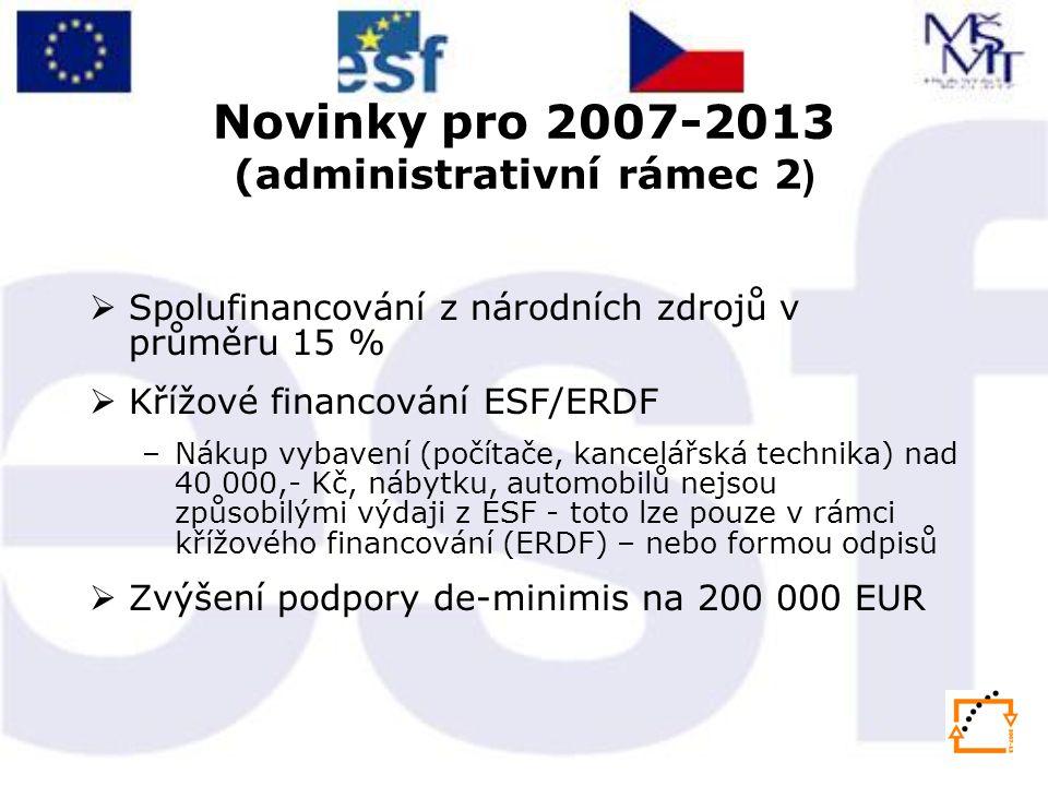 Novinky pro 2007-2013 (administrativní rámec 2 )  Spolufinancování z národních zdrojů v průměru 15 %  Křížové financování ESF/ERDF –Nákup vybavení (