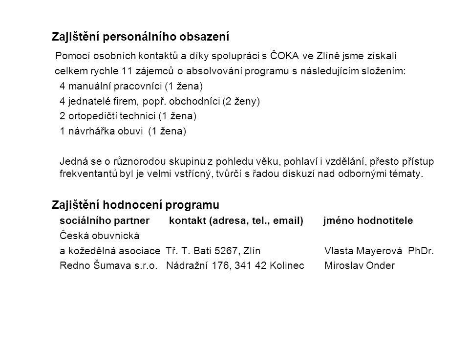 Zajištění personálního obsazení Pomocí osobních kontaktů a díky spolupráci s ČOKA ve Zlíně jsme získali celkem rychle 11 zájemců o absolvování programu s následujícím složením: 4 manuální pracovníci (1 žena) 4 jednatelé firem, popř.