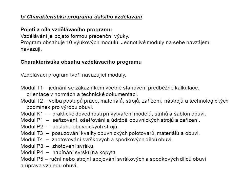 Organizace výuky Příprava v teoretické a praktické části je realizována formou modulové výuky na Střední průmyslové školy polytechnické – Centru odborné přípravy Zlín na odloučeném pracovišti nám.