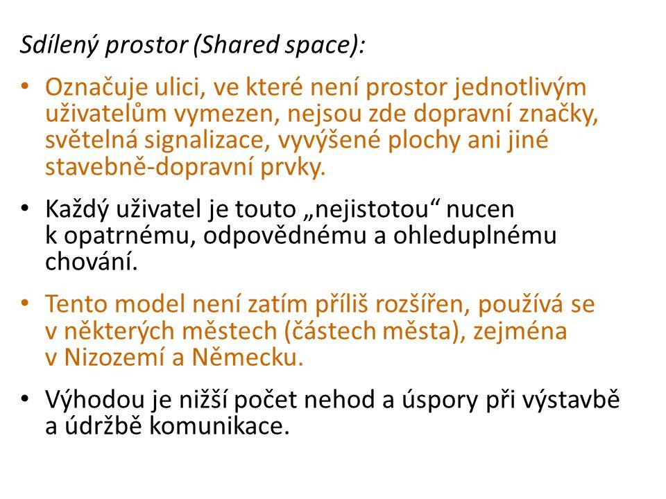 Sdílený prostor (Shared space): • Označuje ulici, ve které není prostor jednotlivým uživatelům vymezen, nejsou zde dopravní značky, světelná signaliza