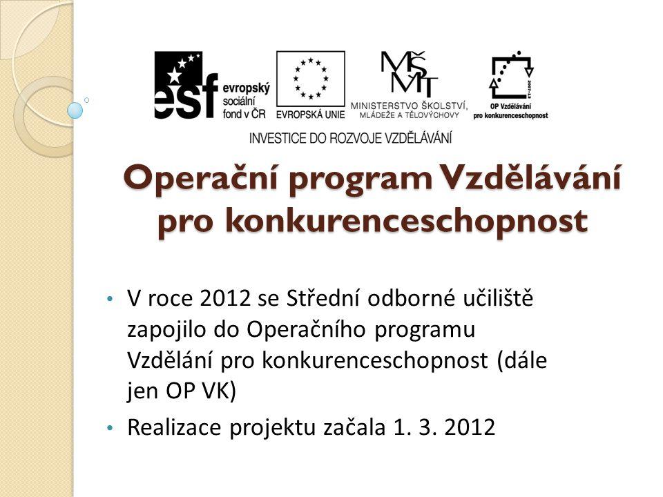 Operační program Vzdělávání pro konkurenceschopnost • V roce 2012 se Střední odborné učiliště zapojilo do Operačního programu Vzdělání pro konkurenceschopnost (dále jen OP VK) • Realizace projektu začala 1.
