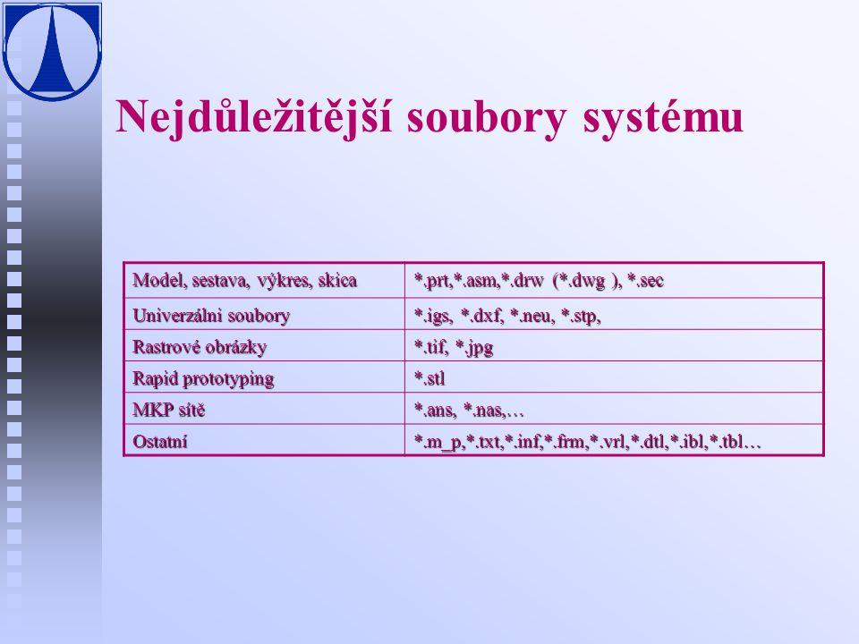 Konfigurační soubory n n config.pro u základní konfigurační soubor config.sup, u postupné načítání jednotlivých nastavení F …\text (c:\Program files\Wildfire\text) F domovský adresář F Pracovní adresář n n config.win u nastavení pracovního prostředí n n tree.cfg u zobrazení stromu modelu F co se bude zobrazovat F parametry zobrazeni n n menu_def.pro u uživatelské položky menu n n *.dtl u nastavení výkresů