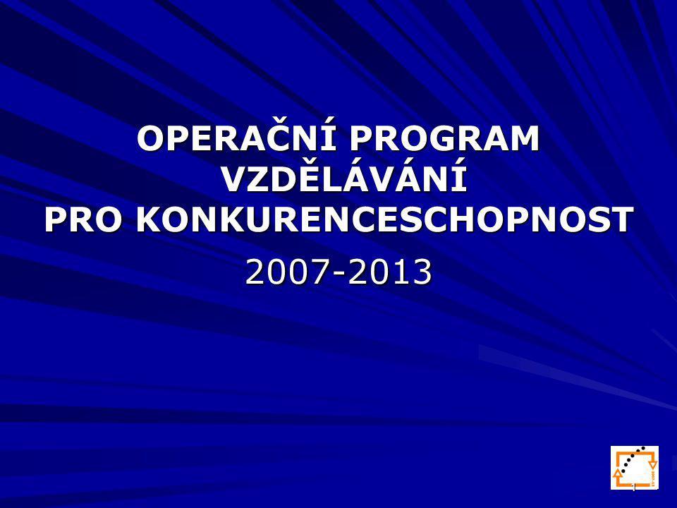 1 OPERAČNÍ PROGRAM VZDĚLÁVÁNÍ PRO KONKURENCESCHOPNOST 2007-2013