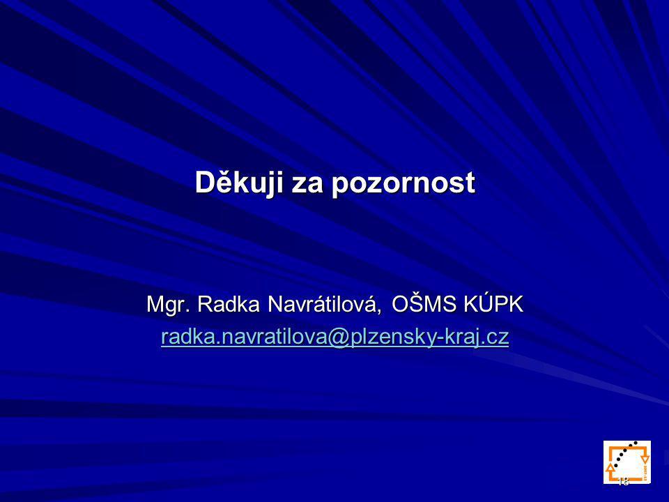 18 Děkuji za pozornost Mgr. Radka Navrátilová, OŠMS KÚPK radka.navratilova@plzensky-kraj.cz