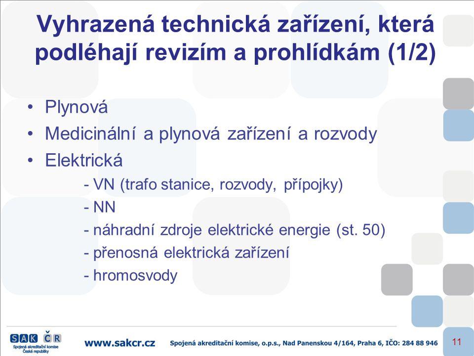 11 Vyhrazená technická zařízení, která podléhají revizím a prohlídkám (1/2) •Plynová •Medicinální a plynová zařízení a rozvody •Elektrická - VN (trafo