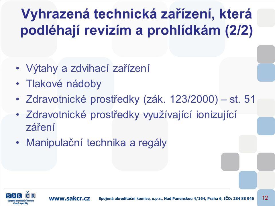 12 Vyhrazená technická zařízení, která podléhají revizím a prohlídkám (2/2) •Výtahy a zdvihací zařízení •Tlakové nádoby •Zdravotnické prostředky (zák.