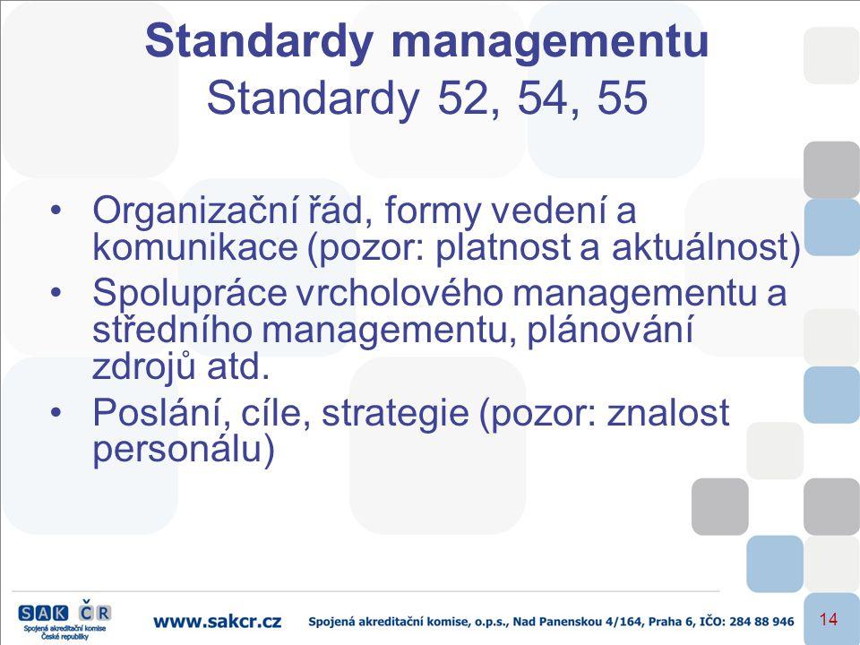 14 Standardy managementu Standardy 52, 54, 55 •Organizační řád, formy vedení a komunikace (pozor: platnost a aktuálnost) •Spolupráce vrcholového manag