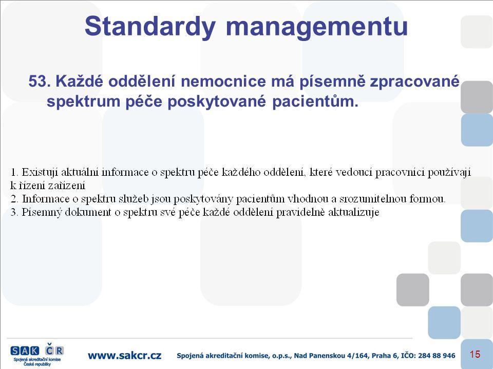 15 53. Každé oddělení nemocnice má písemně zpracované spektrum péče poskytované pacientům. Standardy managementu