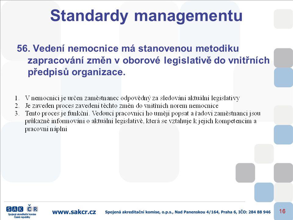 16 56. Vedení nemocnice má stanovenou metodiku zapracování změn v oborové legislativě do vnitřních předpisů organizace. Standardy managementu