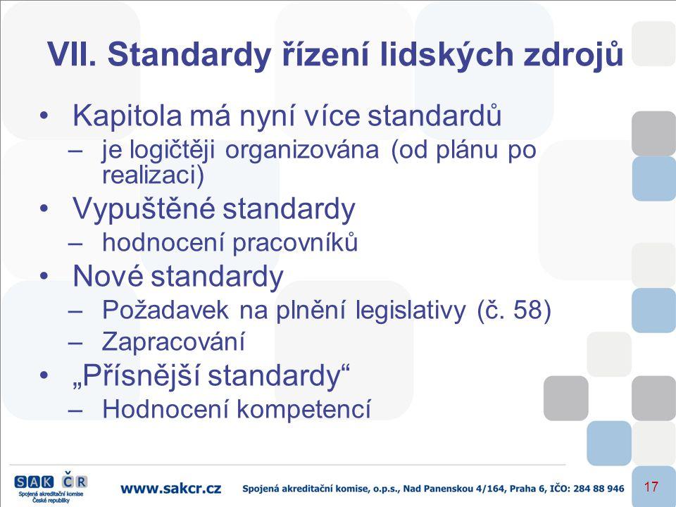 17 VII. Standardy řízení lidských zdrojů •Kapitola má nyní více standardů –je logičtěji organizována (od plánu po realizaci) •Vypuštěné standardy –hod