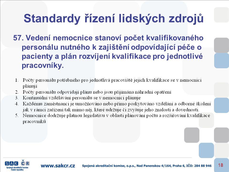 18 Standardy řízení lidských zdrojů 57. Vedení nemocnice stanoví počet kvalifikovaného personálu nutného k zajištění odpovídající péče o pacienty a pl