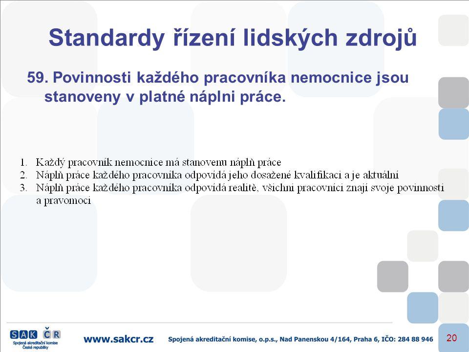 20 Standardy řízení lidských zdrojů 59. Povinnosti každého pracovníka nemocnice jsou stanoveny v platné náplni práce.