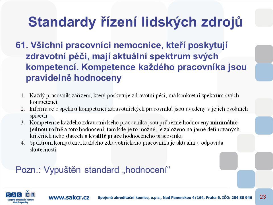 23 Standardy řízení lidských zdrojů 61. Všichni pracovníci nemocnice, kteří poskytují zdravotní péči, mají aktuální spektrum svých kompetencí. Kompete