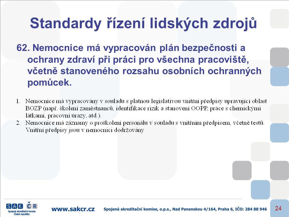 24 Standardy řízení lidských zdrojů 62. Nemocnice má vypracován plán bezpečnosti a ochrany zdraví při práci pro všechna pracoviště, včetně stanoveného