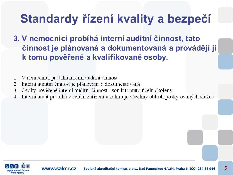 5 Standardy řízení kvality a bezpečí 3. V nemocnici probíhá interní auditní činnost, tato činnost je plánovaná a dokumentovaná a provádějí ji k tomu p