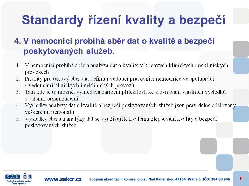 6 Standardy řízení kvality a bezpečí 4. V nemocnici probíhá sběr dat o kvalitě a bezpečí poskytovaných služeb.