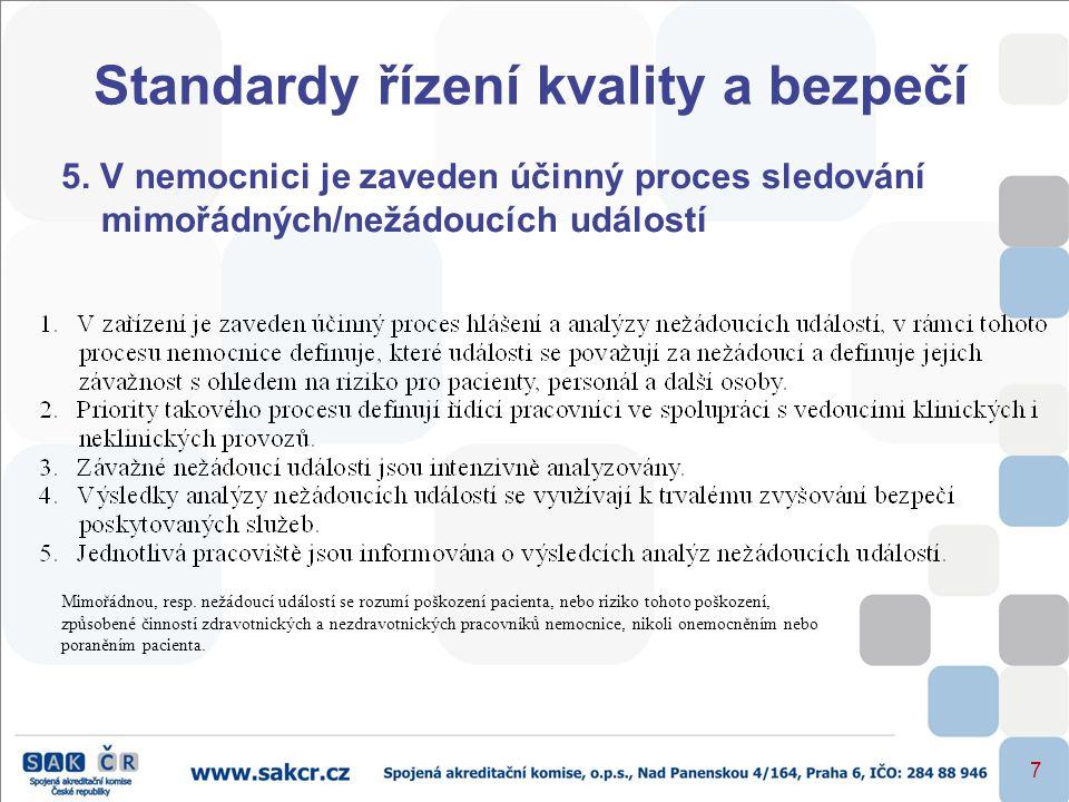 7 Standardy řízení kvality a bezpečí 5. V nemocnici je zaveden účinný proces sledování mimořádných/nežádoucích událostí Mimořádnou, resp. nežádoucí ud