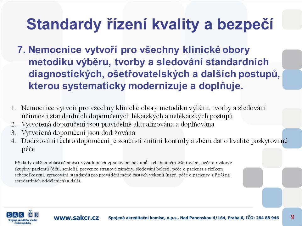 9 Standardy řízení kvality a bezpečí 7. Nemocnice vytvoří pro všechny klinické obory metodiku výběru, tvorby a sledování standardních diagnostických,