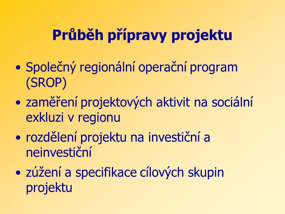 Průběh přípravy projektu •Společný regionální operační program (SROP) •zaměření projektových aktivit na sociální exkluzi v regionu •rozdělení projektu na investiční a neinvestiční •zúžení a specifikace cílových skupin projektu