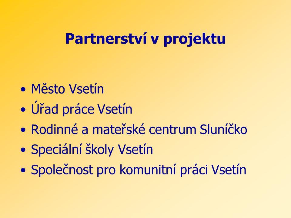 Partnerství v projektu •Město Vsetín •Úřad práce Vsetín •Rodinné a mateřské centrum Sluníčko •Speciální školy Vsetín •Společnost pro komunitní práci Vsetín